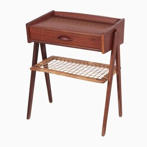 Danish Bedside Table with Rattan Rack and Drawer