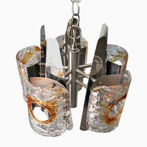 5-Leuchten Kronleuchter aus Muranoglas von Mazzega