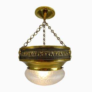 Lampada da soffitto Art Nouveau in ottone lucidato