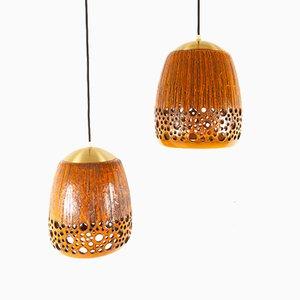 Mid-Century Danish Orange Ceramic Pendant Lamps, 1960s, Set of 2