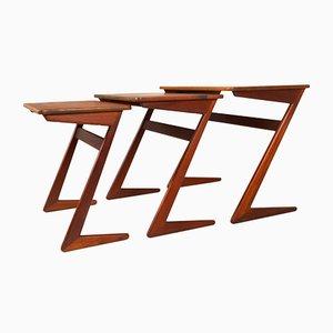 Danish Modern Nesting Teak Tables by Erling Torvits for Heltborg Furniture 1950s, Set of 3