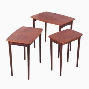 Vintage Danish Nesting Side Tables in Teak Wood, Set of 3