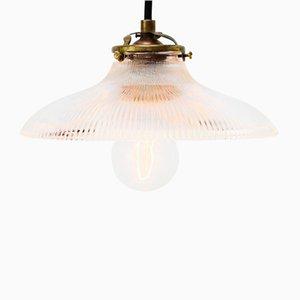Lampe à Suspension Vintage Industrielle en Verre de Holophane