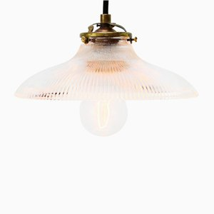 Vintage Industrial Glass Pendant Lamp from Holophane