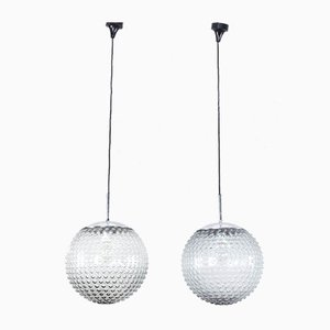 Bubble Glass Pendant Lamps by Rolf Krüger for Staff, Germany, 1970s, Set of 2