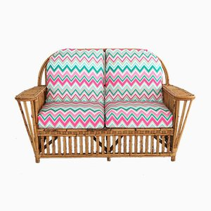 Italian Bamboo and Rattan Daybed, 1970s