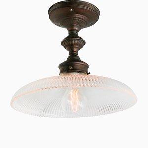 Industrielle Vintage Deckenlampe aus Glas von Holophane