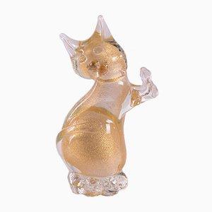 Vintage Katze aus Muranoglas mit goldenen Akzenten