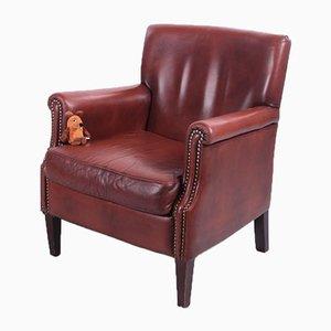 Vintage Leder Armlehnstuhl aus Schafsleder