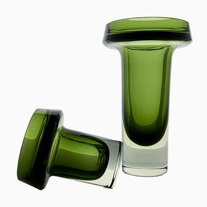 Green and Clear Cased Glass KF 260 Art Objects by Kaj Franck for Nuutajärvi-Notsjö, Finland, 1960s, Set of 2