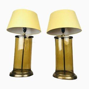 Vintage Kaffeeservice Tischlampen aus Gelbtem Glas und Messing, 2er Set