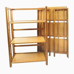 Librerías o estanterías plegables vintage de madera, años 70. Juego de 2