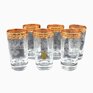 Bicchieri Mid-Century in vetro di Murano dorato di Medici, set di 6