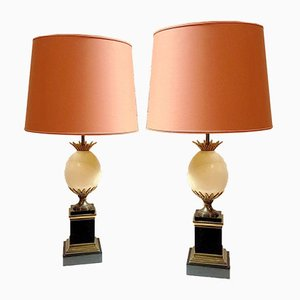 Marble and Bronze Ostrich Egg Table Lamps by Maison Charles, Set of 2
