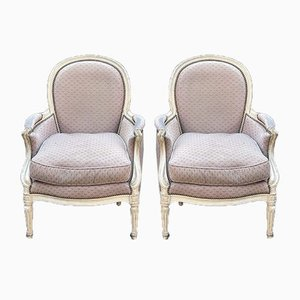 Upholstered French Bergere Armchairs, Set of 2