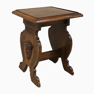 Antique Walnut Coffee Table with Vase Holder