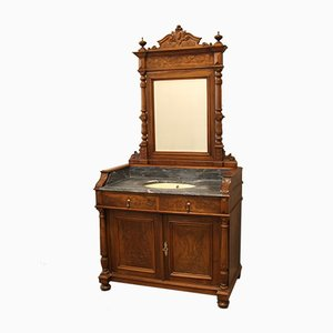 Antique Walnut Dressing Table with Mirror, 19th-Century