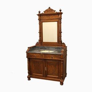 Coiffeuse Antique en Noyer avec Miroir, 19ème Siècle