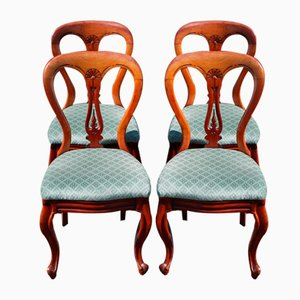Mahogany Hoop-Back Chairs with Pop-Out Seats, 1900s, Set of 4