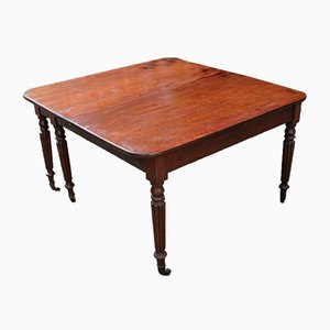 Mahogany Pull-Out Table with Two Leaves on Turned Legs, 1830s
