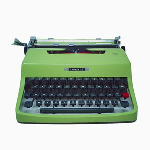 Vintage Mint Green Lettera 32 Typewriter with Case, Manuals & Cleaning Kit by Marcello Nizzoli for Olivetti