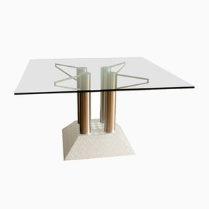 Postmodern Industrial Stainless Steel Tube and Diamond Chequer Pattern Table with a Glass Top, 1990s