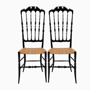 Italian Chiavari Chairs with High Backs by Gaetano Descalzi, 1950s, Set of 2