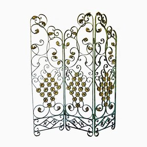 Art Deco Tri Fold Wrought Iron Screen with Floral Decor by Gilbert Poillerat