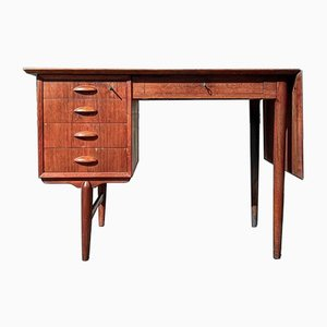 Mid-Century Danish Extendable Free Standing Teak Desk with Drop Leaf