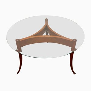 Round Coffee Table with Beveled Glass