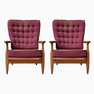 Mid-Century Oak Edouard Armchairs by Guillerme et Chambron, Set of 2