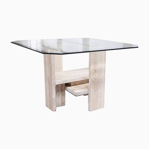 Table in Travertine by Willy Ballez, 1970s