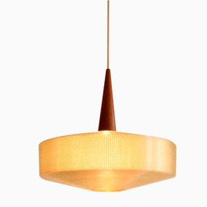 Cellulose and Teak Pendant Lamp by John and Sylvia Reid for Rotaflex, UK, 1950s