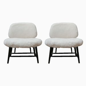 Sheepskin Shearling TeVe Lounge Chairs by Alf Svensson, Set of 2