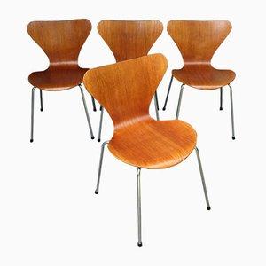 Teak 3107 Esszimmerstühle von Arne Jacobsen für Fritz Hansen, 4er Set