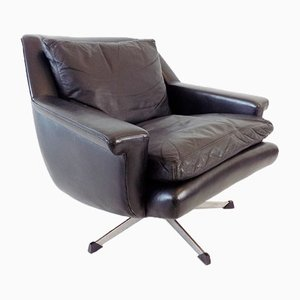Esa 802 Black Leather Armchair by Werner Langenfeld