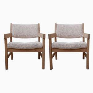 Mid-Century Blonde Oak Armchairs by Hans J Wegner, Set of 2