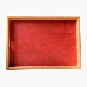 Serving Tray in Beech and Red Formica by Torben Ørskov, 1970s