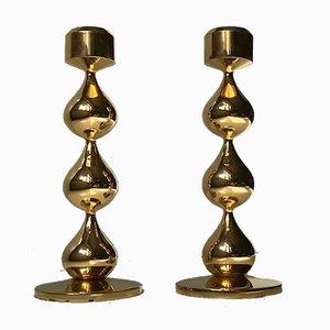 Portacandele a forma di lacrime placcati in oro a 24 carati di Hugo Asmussen, anni '70, set di 2