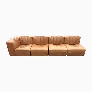 Leather Modular Sofa Set by Tito Agnoli for Arflex 1970s, Set of 4