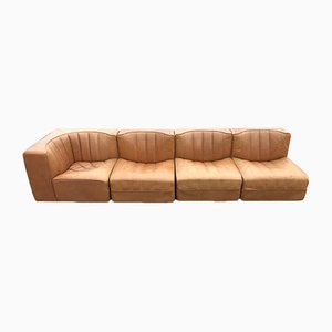 Set di sofà modulare di pelle di Tito Agnoli per Arflex, anni '70, set di 4
