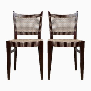 French Art Deco Cord Side Chairs, Set of 2