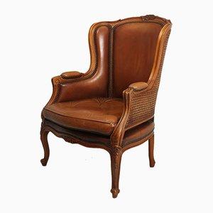 Französischer Bergere Stuhl aus Leder im Louis XV Stil