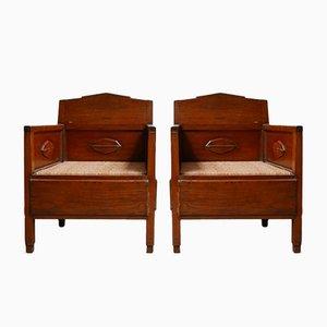 Dutch Art Deco Wooden Armchairs, Set of 2