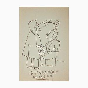 Unknown, Lateinunterricht, Originales Tintenzeichnung, Mitte 20. Jahrhundert