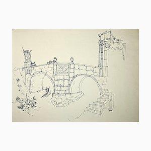 Rom, Ponte Milvio, Original Zeichnung von Giulio Zek, 1960er