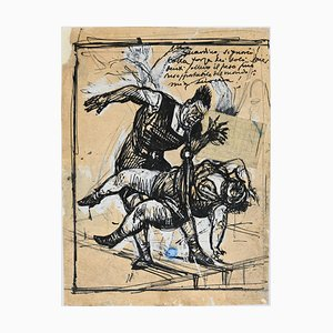 Gabriele Galantara, At the Circus, Dessin à l'Encre d'Origine, Début 20ème Siècle