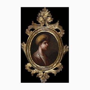 Unknown, Portrait of a Sultan Page with Turban, Original Oil on Board, 18th Century