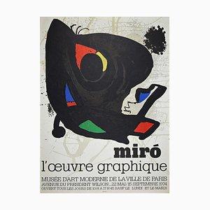 Póster L'Oeuvre Graphique vintage, Joan Miró, 1974