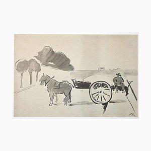 Unbekannt, Bauer bei der Arbeit, Original Aquarell, Frühes 20. Jahrhundert